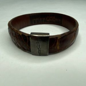 Jewelry - Sterling Brown Alligator Leather Bangle Bracelet